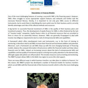 INBETS Newsletter 3: Finance Models