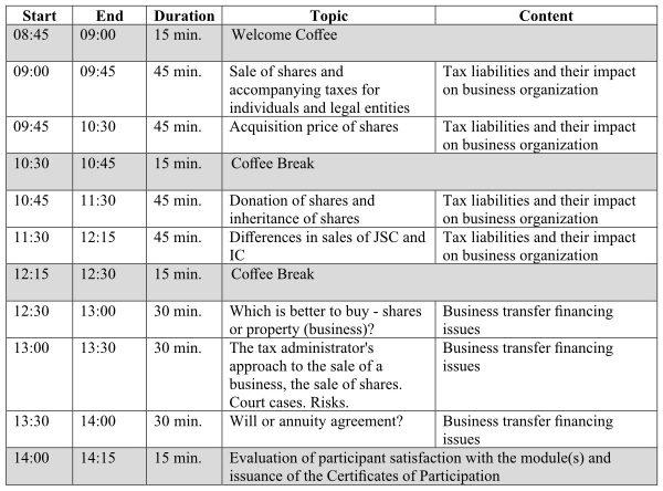 Implementation report_Training of Successors